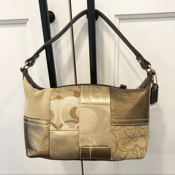 Coach Gold Holiday Patchwork Top Handle Pouch
